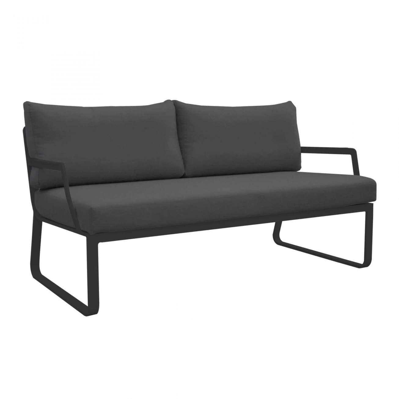 Gardenart toseter sofa i sort aluminium og sort tekstil