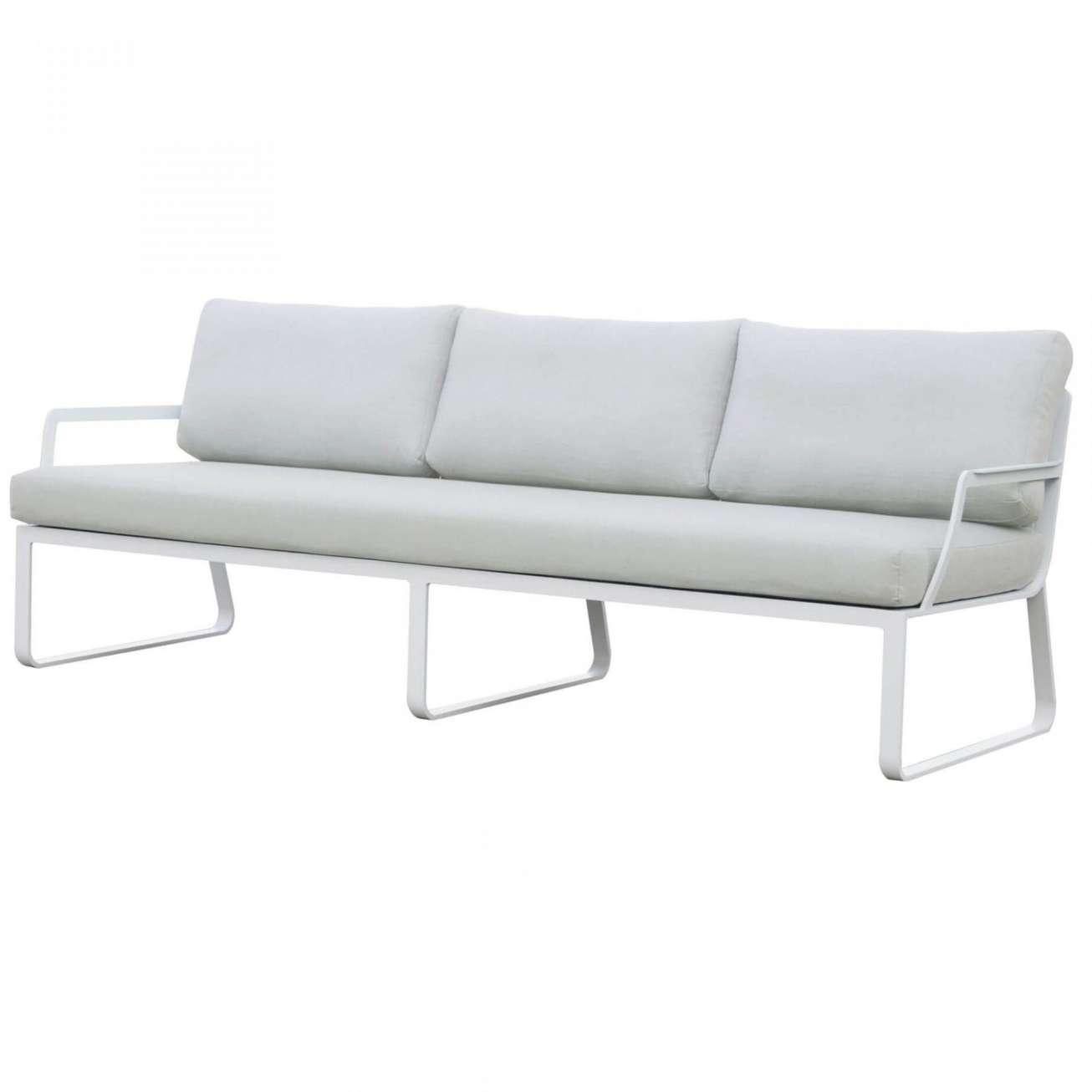 Gardenart treseter sofa i ramme av hvit aluminium og lysegrå tekstil