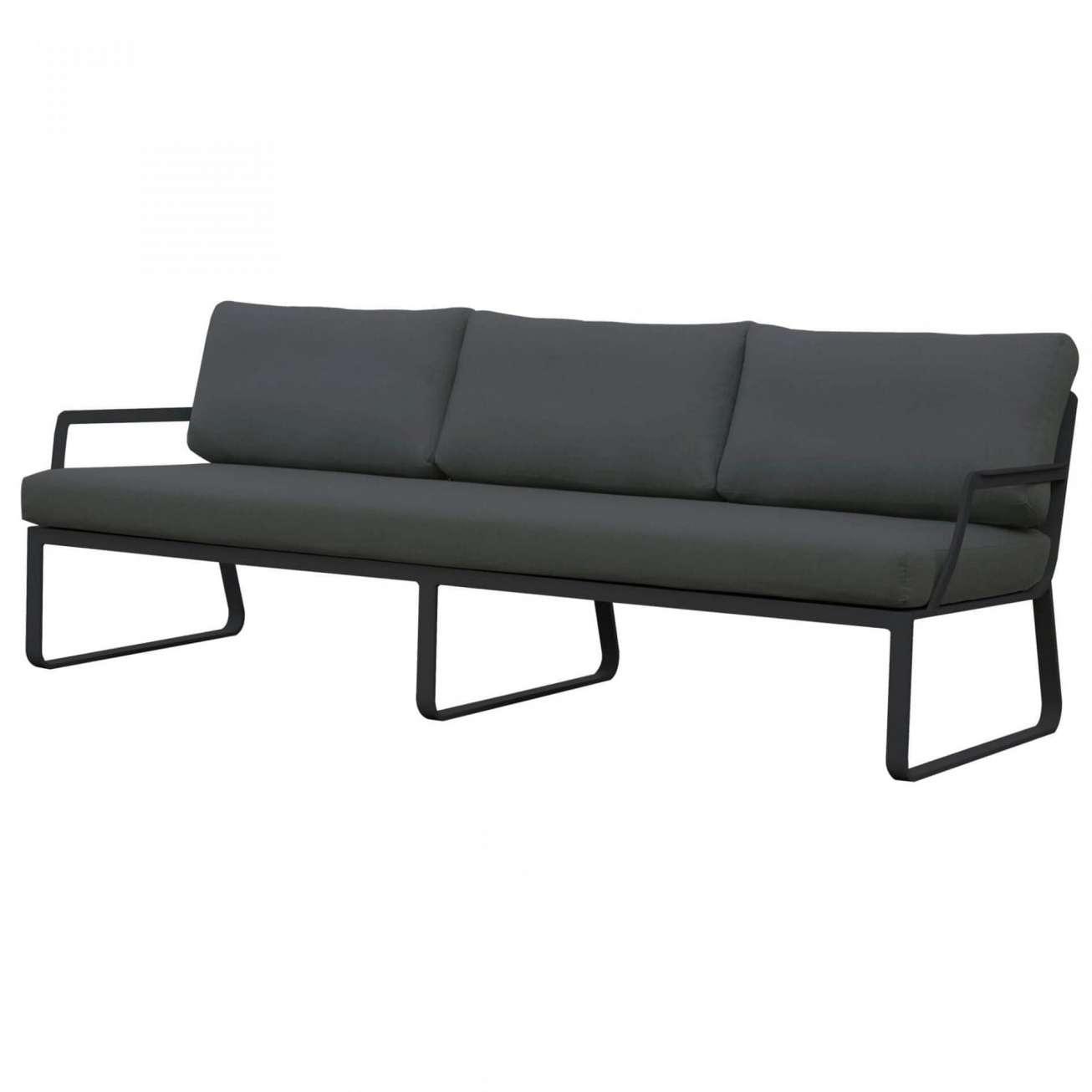 Gardenart treseter sofa i ramme av sort aluminium og mørkegrå tekstil