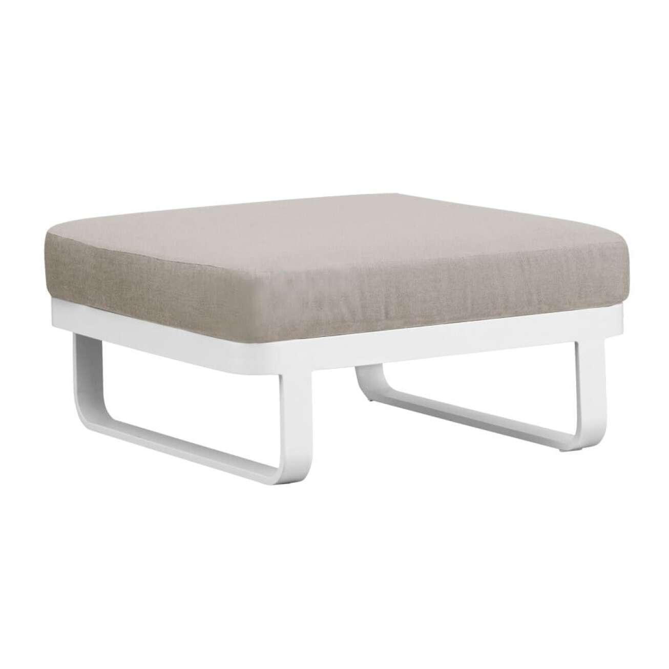 Gardenart puff eller sofamodul i hvit aluminium og med kaki pute