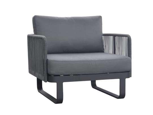 Sofa med sort aluminiumsramme med grått tau og sorte puter, fra Gardenart