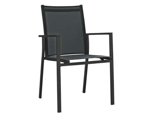 Stablebar spisestol i sort aluminium med sort textilene i rygg og sete