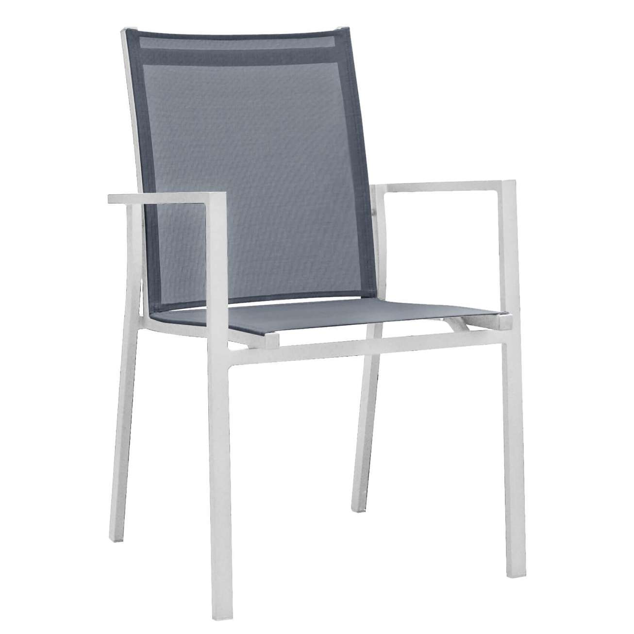 Stablebar spisestol i hvit aluminium med sort textilene i rygg og sete