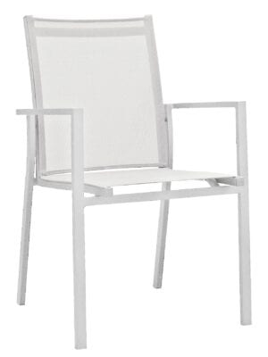 Stablebar spisestol i hvit aluminium med hvit textilene i rygg og sete