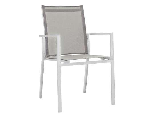 Stablebar spisestol i hvit aluminium med beige textilene i rygg og sete