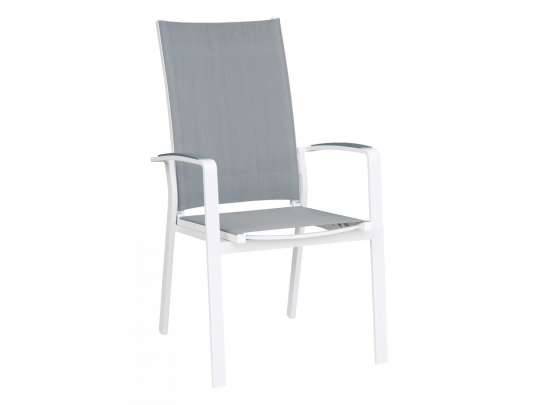 Spisestol i hvitlakket aluminium med gråfarget rygg og sete i texilene