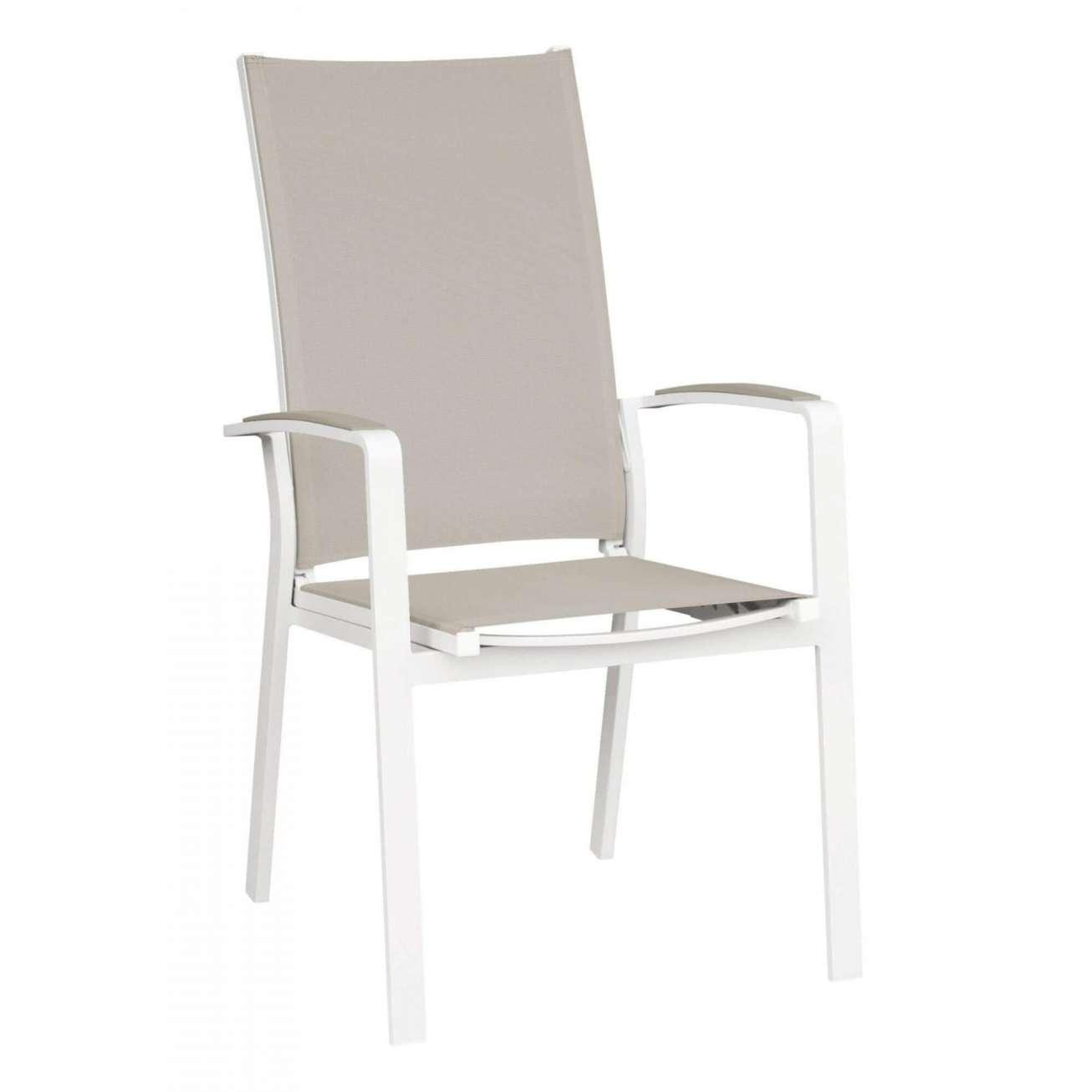 Spisestol i hvitlakket aluminium med kakifarget rygg og sete i texilene