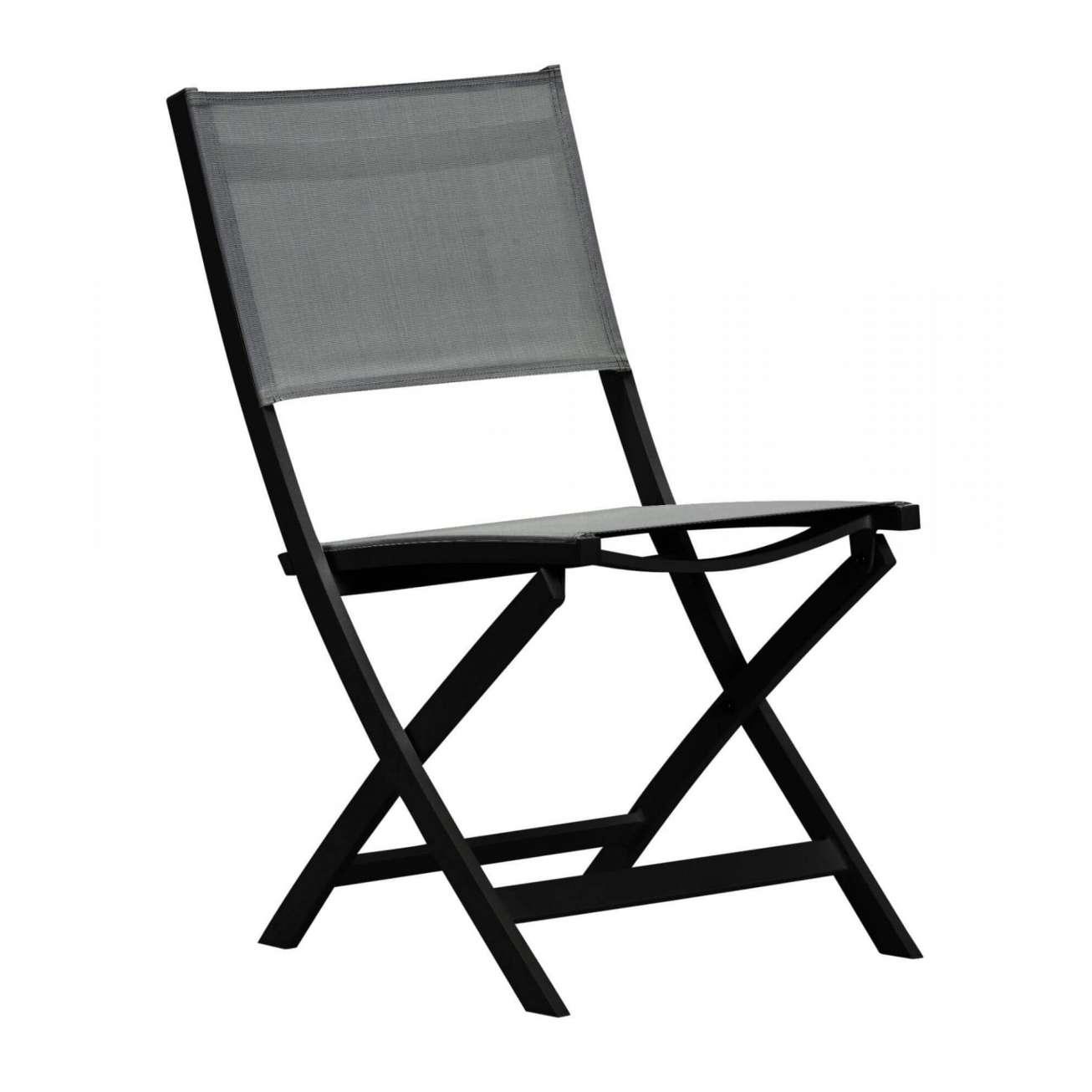 Gardenart klappstol med sort aluminiumsramme og grå texilene, uten armlene