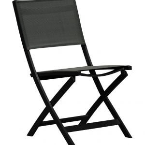 Klappstol med sort aluminiumsramme og sort texilene