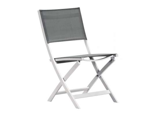 Klappstol med hvit aluminiumsramme og grå texilene