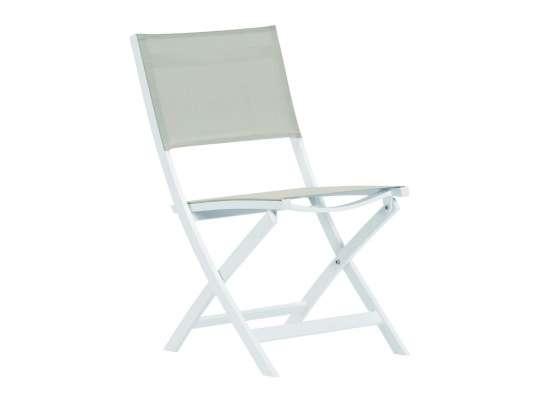 Gardenart klappstol med hvit aluminiumsramme og grå texilene