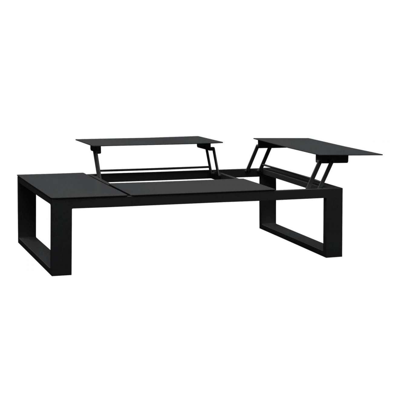 Sofabord i sort aluminium med oppløft som kan bli til spisebord i sort - fra Gardenart