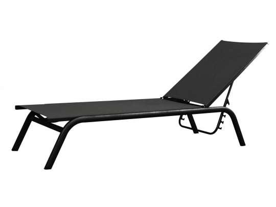 Hvilestol i sort aluminium og sort tekstil