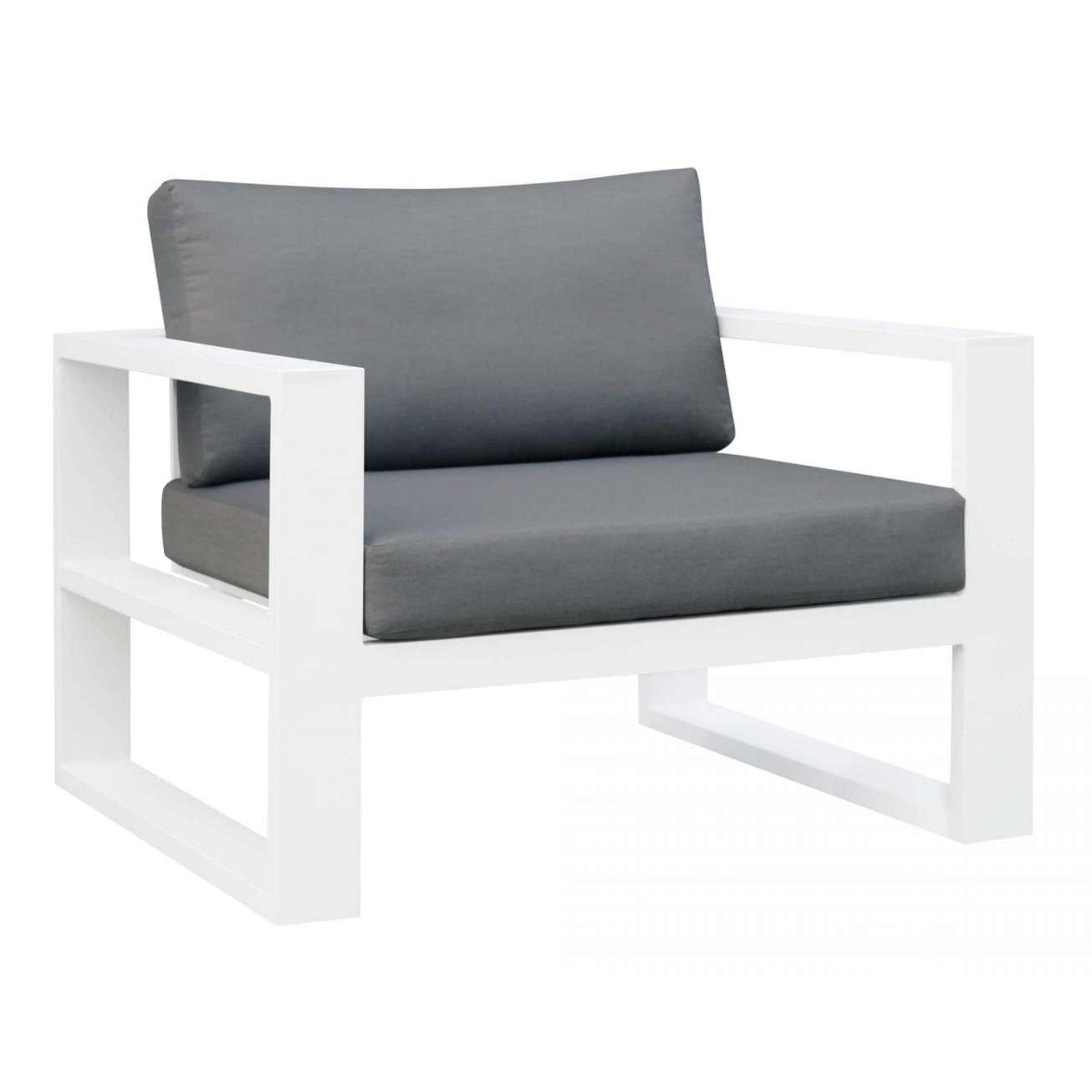 Gardenart stol i hvit aluminium med grå pute