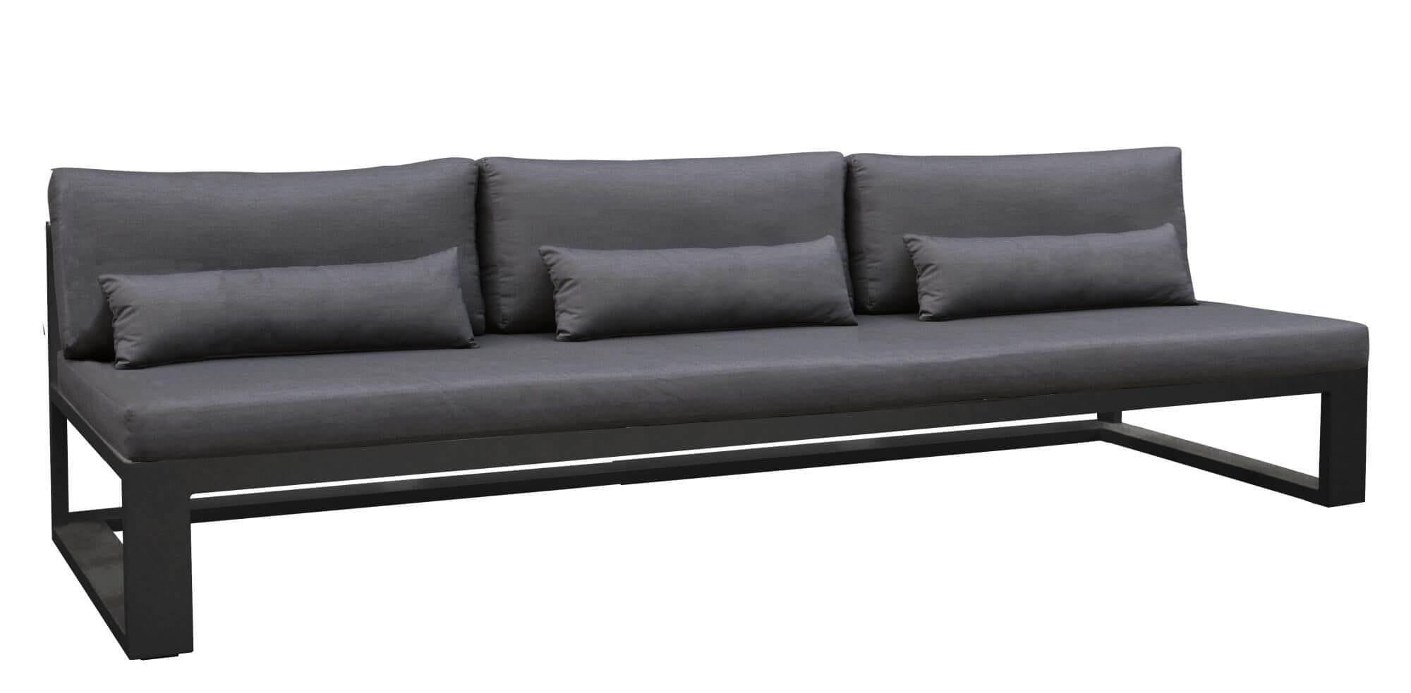 Sort sofamodul uten armlener treseter fra Gardena