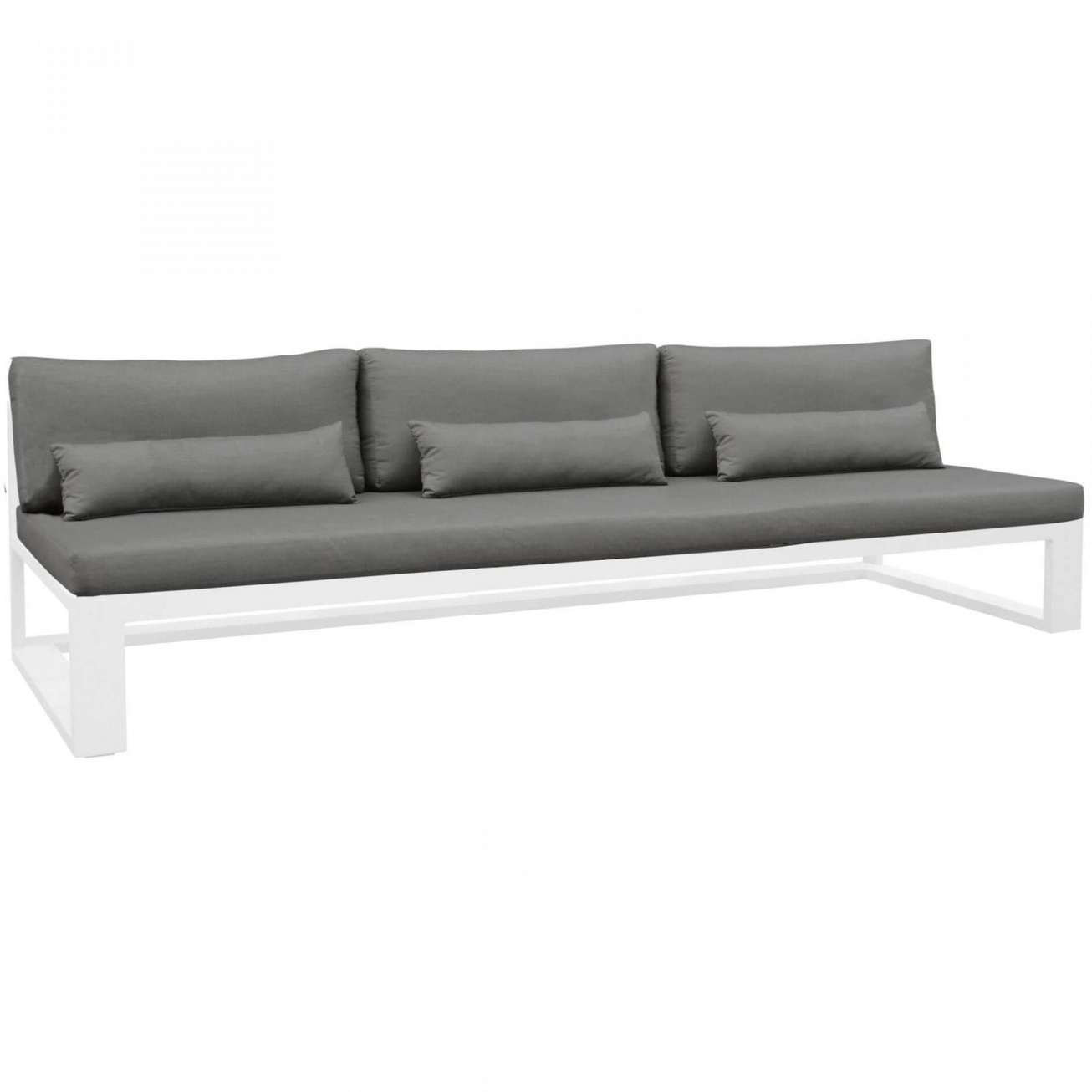 Gardenart 3 seters sofa uten armlene, mørkegrå teksti og hvit ramme