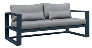 Gardenart toseter sofa i sort aluminium med grå puter og armlene
