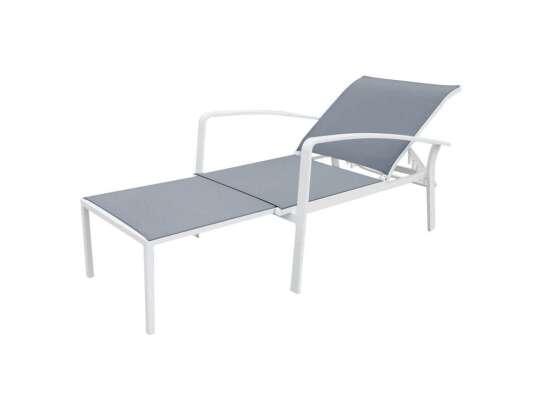 Gardenart Hvilestol Med Skammel I Aluminium Og Textilene (100554hvit) Hagemøbler og utemøbler - Fine design