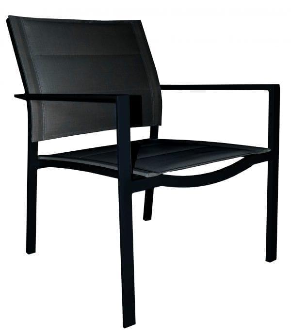 Gardenart stablebar lounge stol med sort aluminiumsramme og tekstiler