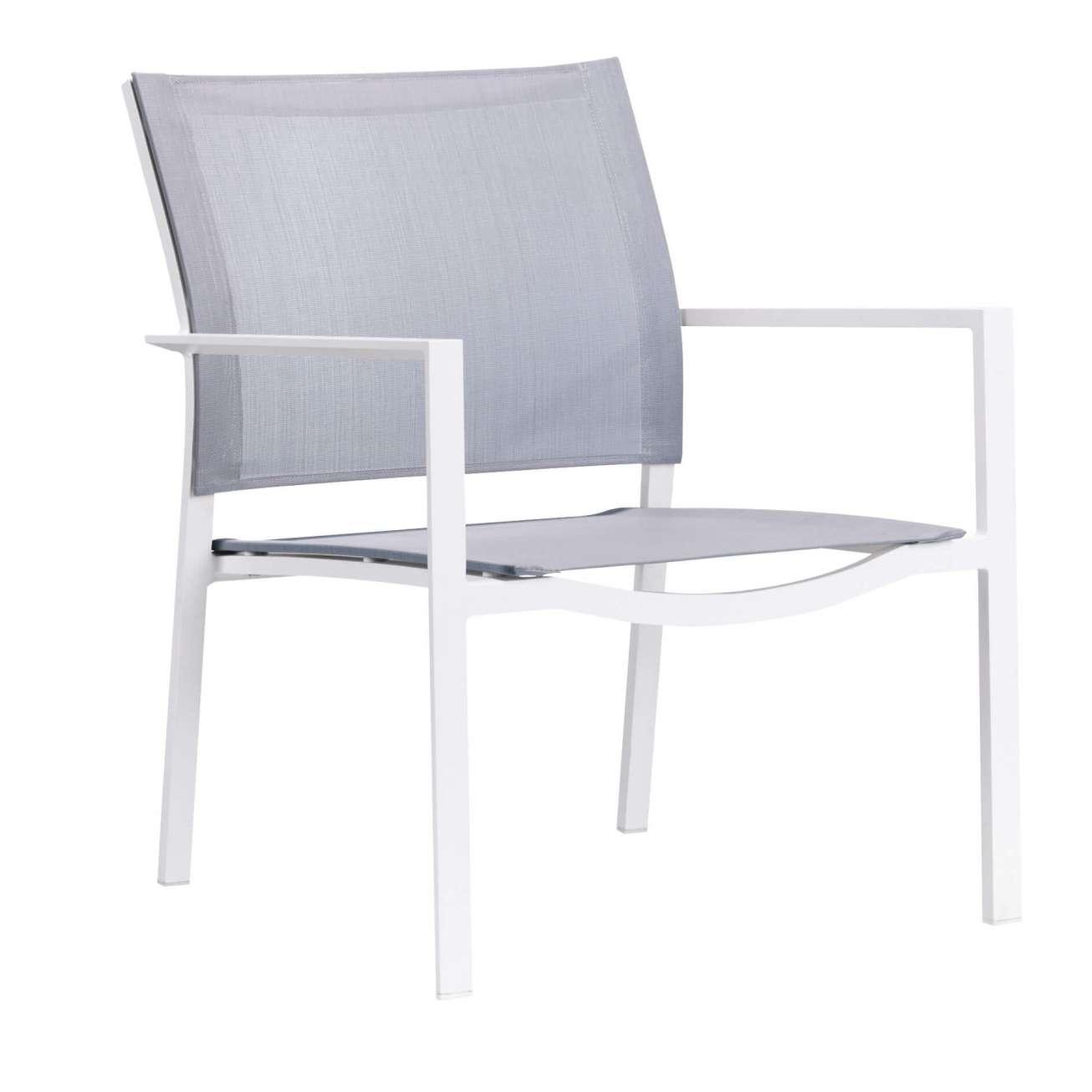 Gardenart stablebar lounge stol med hvit aluminiumsramme og grå tekstiler