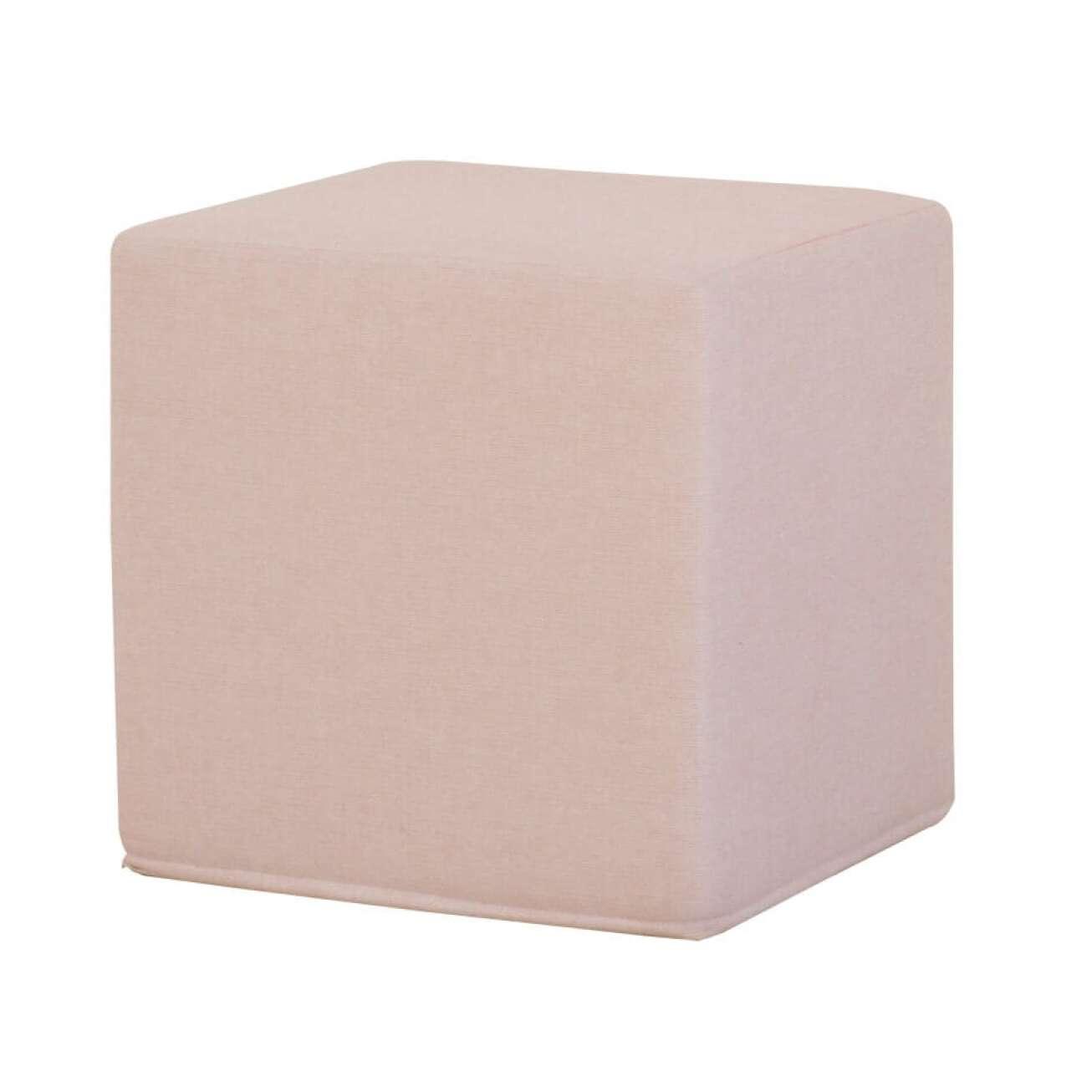 Puff i form av en kube i rosa farge