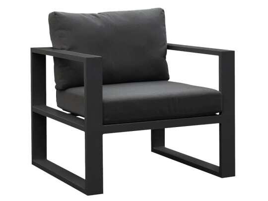Gardenart stol i sort aluminium og puter