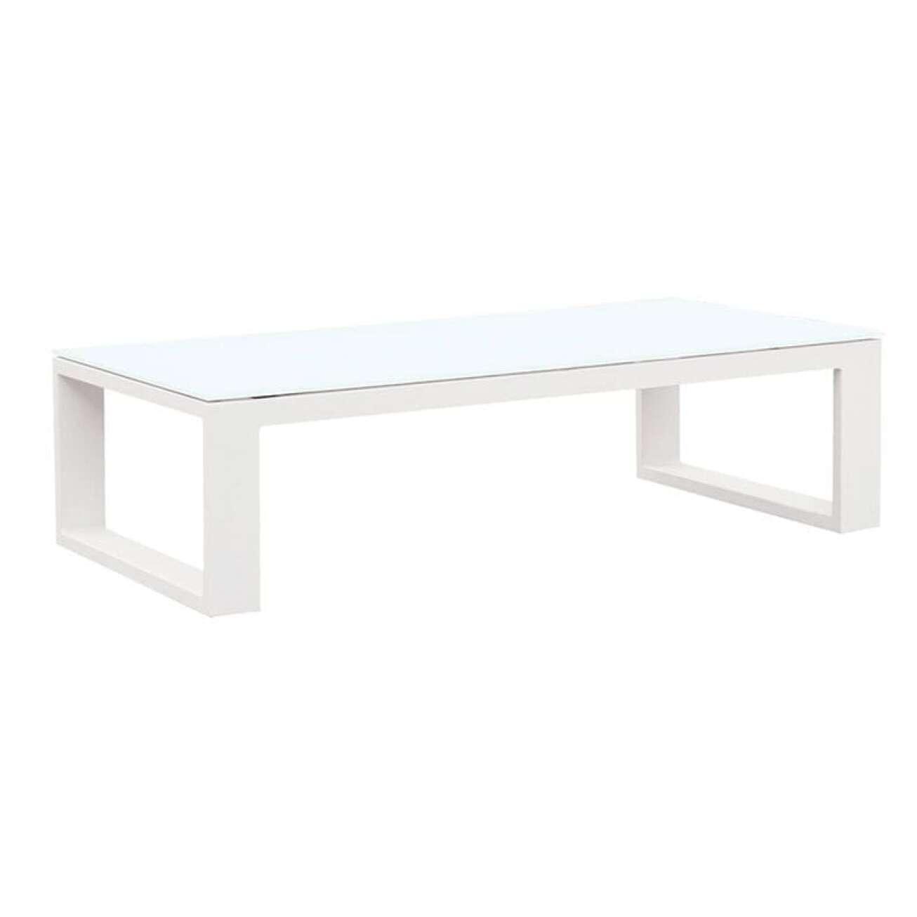 Gardenart Sofabord I Hvit Aluminium M/glassplate (100606hvit) Hagemøbler og utemøbler - Fine design