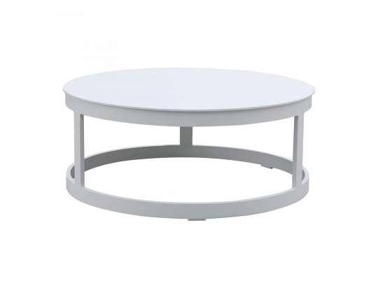 Gardenart rundt bord i hvit aluminum lite