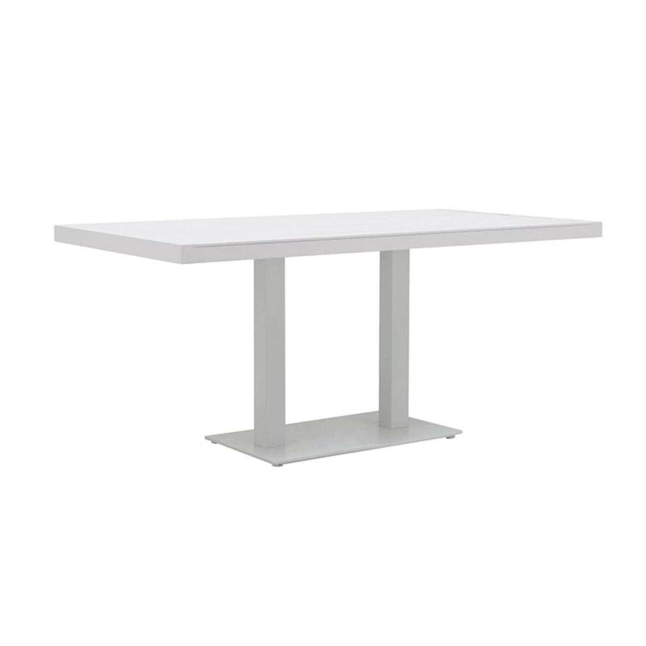 Gardenart Spisebord I Aluminium Med Kun To Plassbesparende Bein (100685hvit) Hagemøbler og utemøbler - Fine design