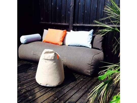 Rocket daybed utendørs loungemøbler i grå farge, med puff, beanbag puter