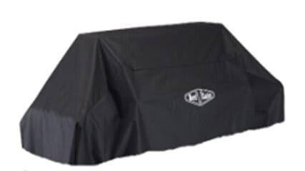 Lagringstrekk til bevaring av møbler eller skydd mot regn i sort farge med hvit skiltning