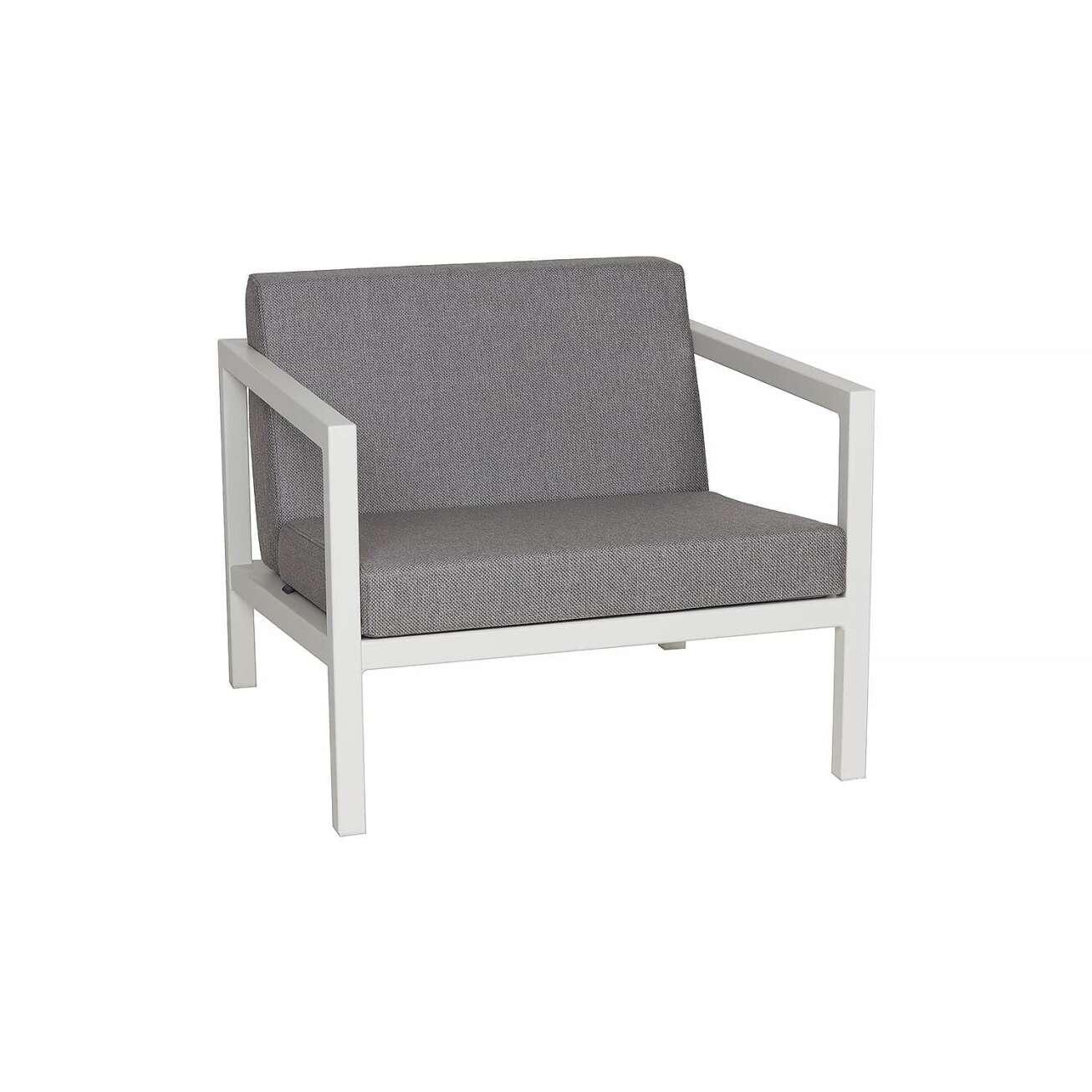 Sundays Frame sofastol i hvit aluminium med grå puter