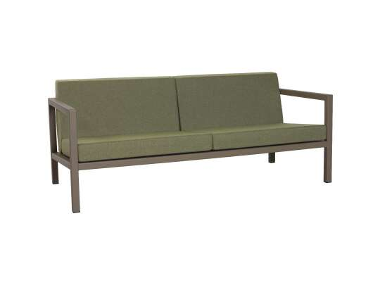Sundays 2.5 seter i brun aluminium med grønne puter
