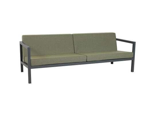 Sundays Frame 3-seter sofa i svart aluminium med grønne puter