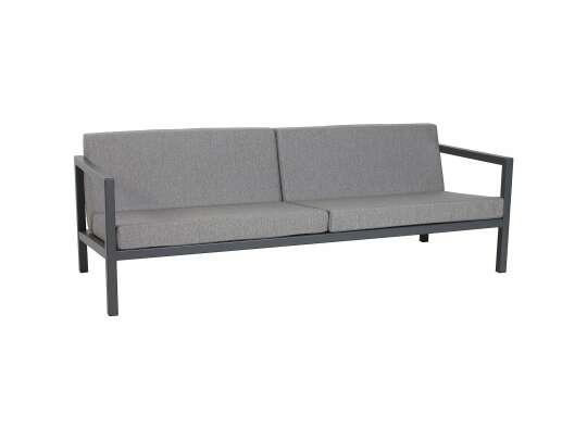 Sundays Frame 3-seter sofa i svart aluminium med grå puter