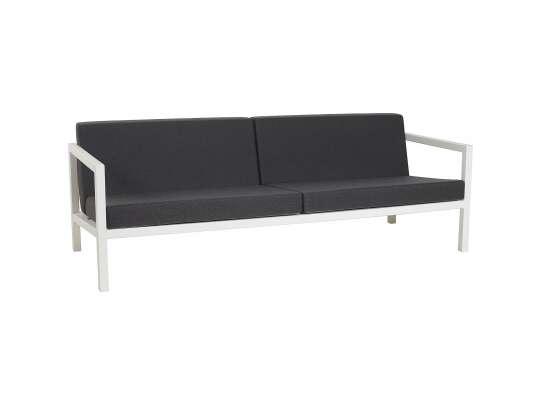 Sundays Frame 3-seter sofa i hvit aluminium med svarte puter