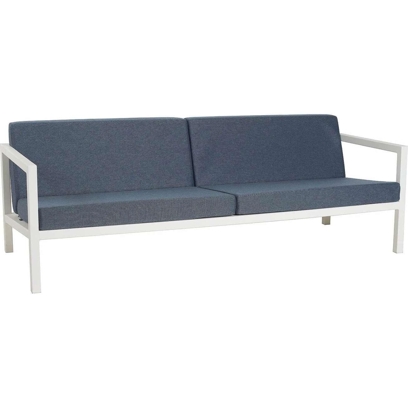 Sundays Frame 3-seter sofa i hvit aluminium med blå puter