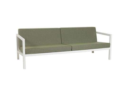 Sundays Frame 3-seter sofa i hvit aluminium med grønne puter