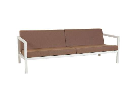 Sundays Frame 3-seter sofa i hvit aluminium med brune puter