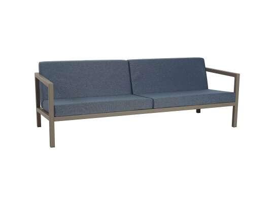 Sundays Frame 3-seter sofa i brun aluminium med mørkblå puter
