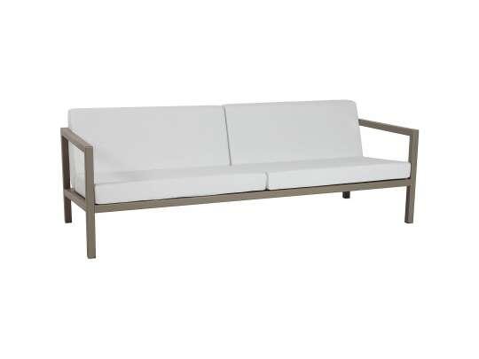 Sundays Frame 3-seter sofa i brun aluminium med hvite puter