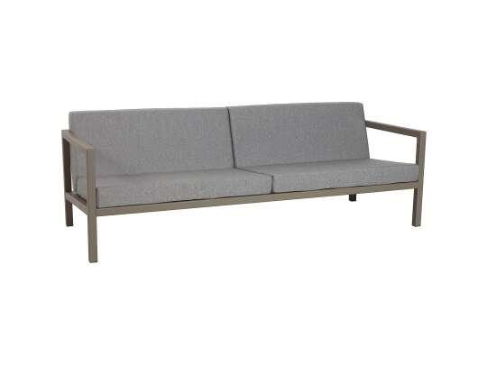 Sundays Frame 3-seter sofa i brun aluminium med grå puter