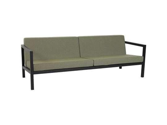 Sundays Frame 3-seter sofa i sort aluminium med grønne puter