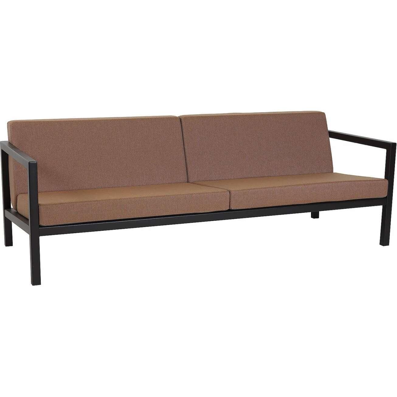 Sundays Frame 3-seter sofa i sort aluminium med brune puter