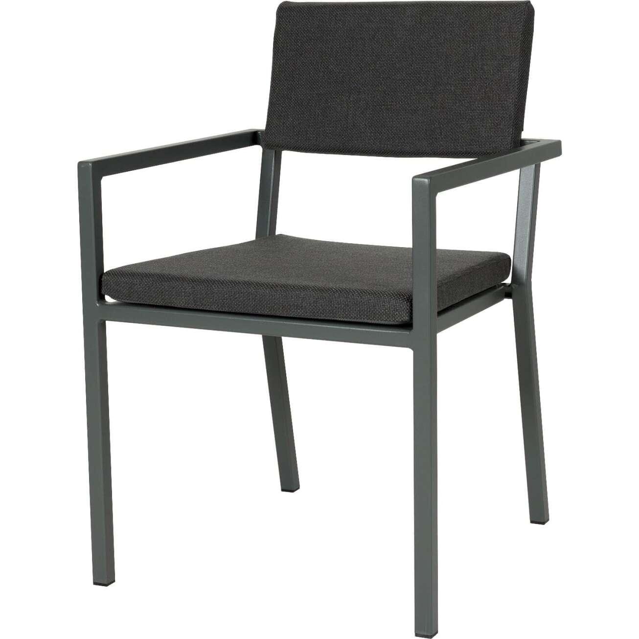 Sundays Frame spisestol i mørkgrå aluminium med svarte puter