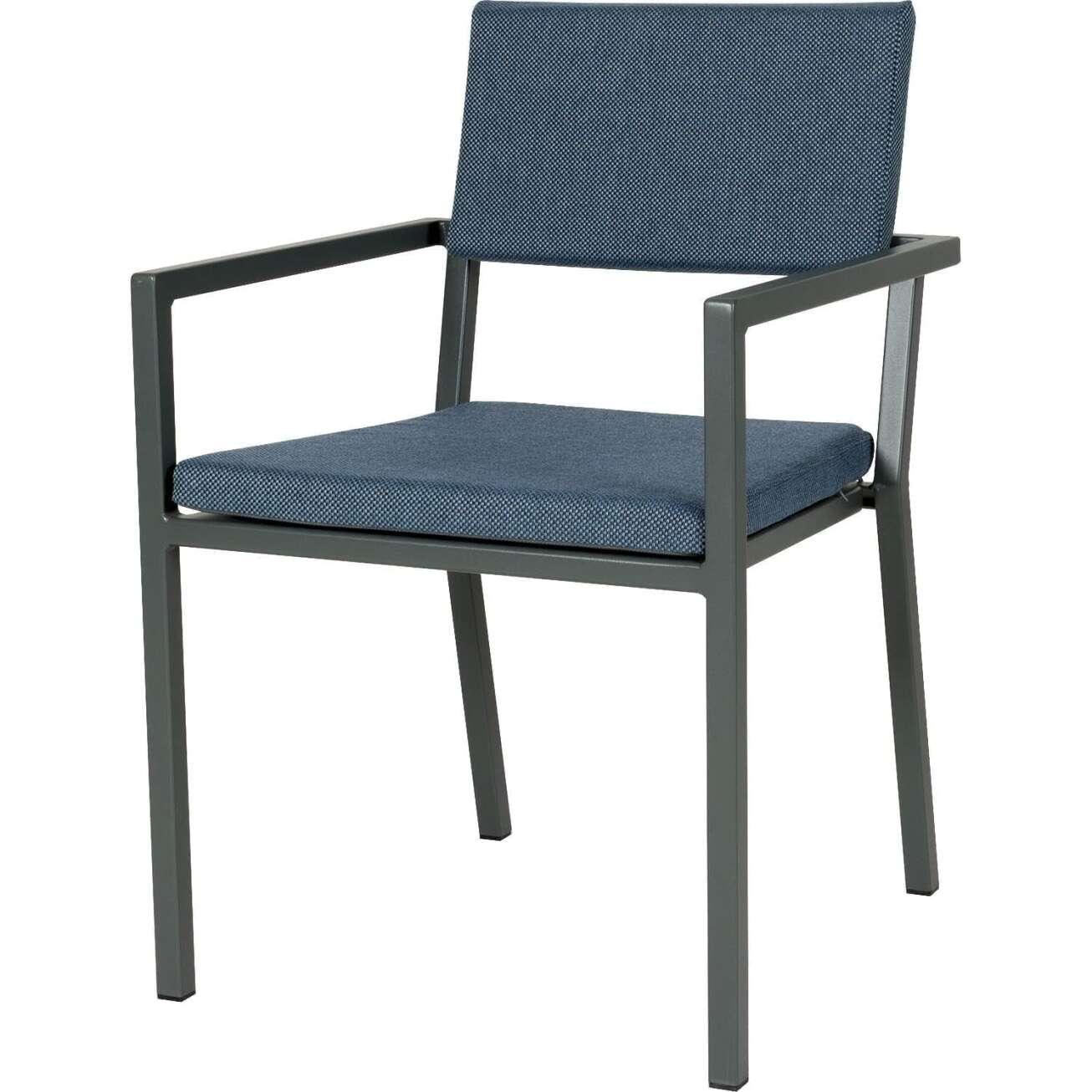 Sundays Frame spisestol i mørkgrå aluminium med blå puter