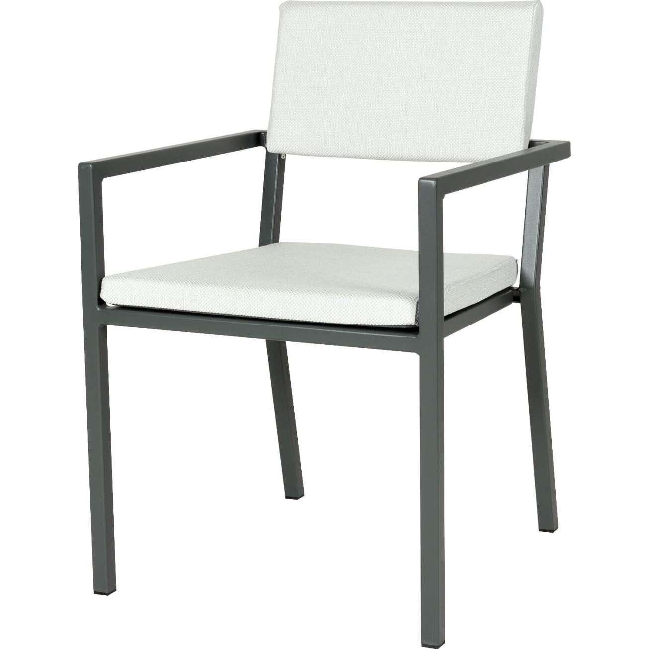Sundays Frame spisestol i mørkgrå aluminium med hvite puter