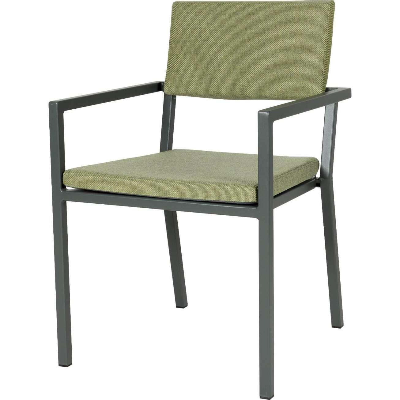Sundays Frame spisestol i mørkgrå aluminium med grønne puter