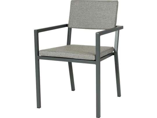 Sundays Frame spisestol i mørkgrå aluminium med grå puter