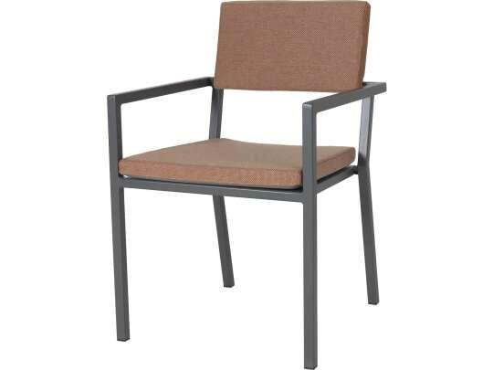 Sundays Frame spisestol i mørkgrå aluminium med brune puter
